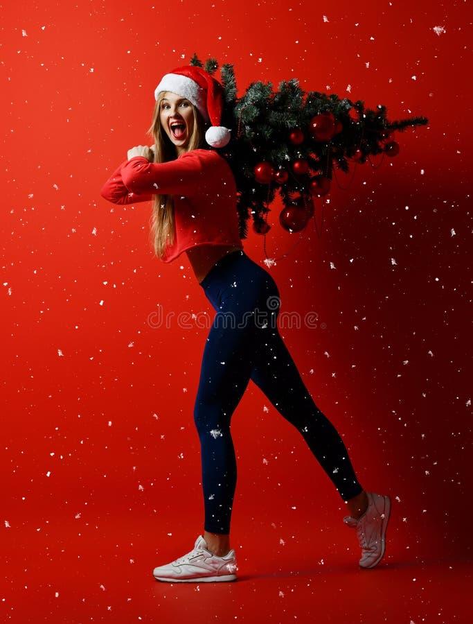Mujer atractiva del deporte de la aptitud de la Navidad que lleva el sombrero de santa que sostiene el árbol de Navidad en sus ho fotografía de archivo