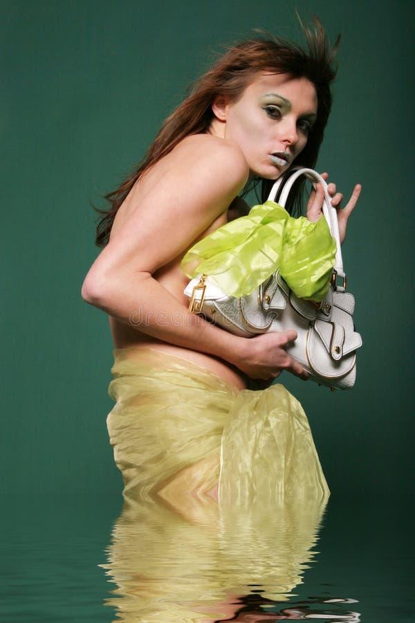 Mujer atractiva del glamor con el bolso - riegue el efecto foto de archivo