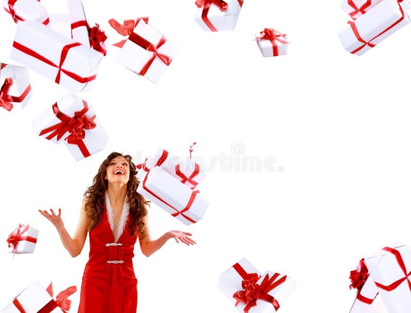 Mujer atractiva emocionada foto de archivo libre de regalías