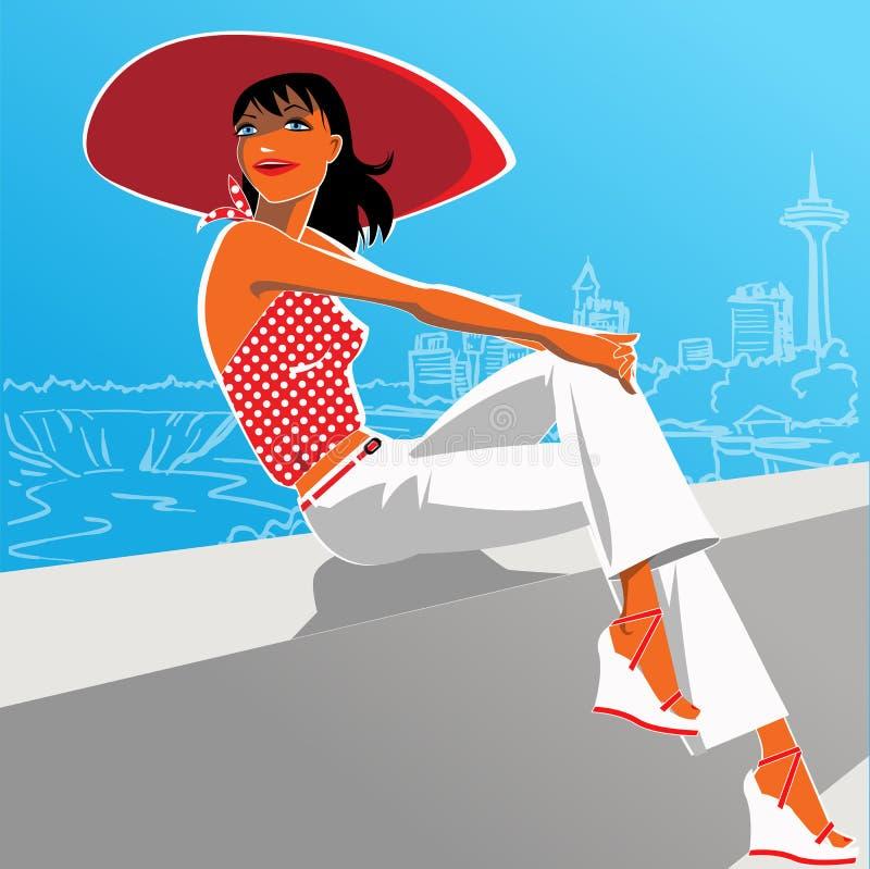 Mujer atractiva en equipo de los años 50 y un sombrero rojo stock de ilustración