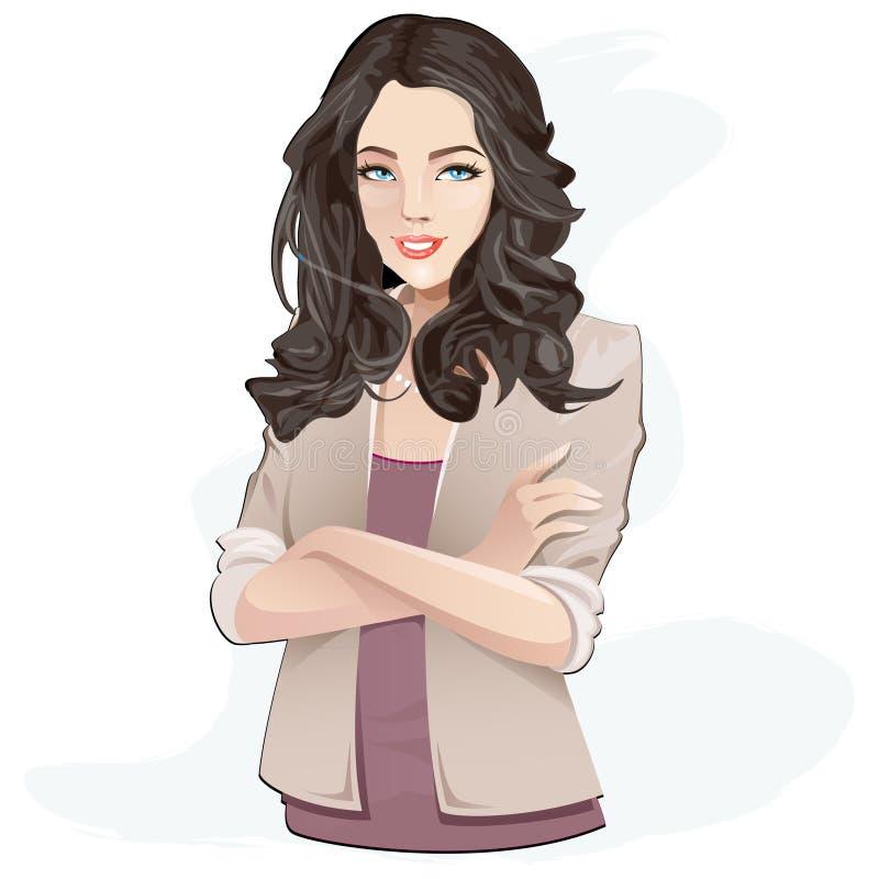 Mujer atractiva en la alineada violeta stock de ilustración