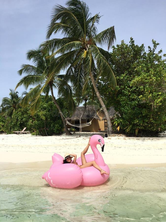Mujer atractiva en la playa tropical fotos de archivo libres de regalías