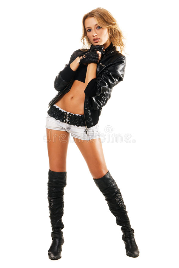 mujer atractiva en la ropa del estilo de la roca fotos de archivo