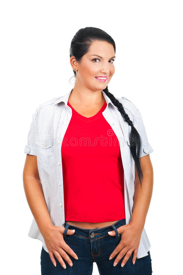 Mujer atractiva en ropa ocasional imagen de archivo
