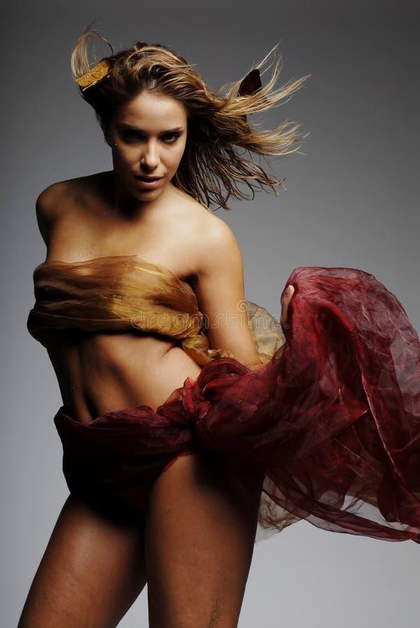 Mujer atractiva en seda foto de archivo