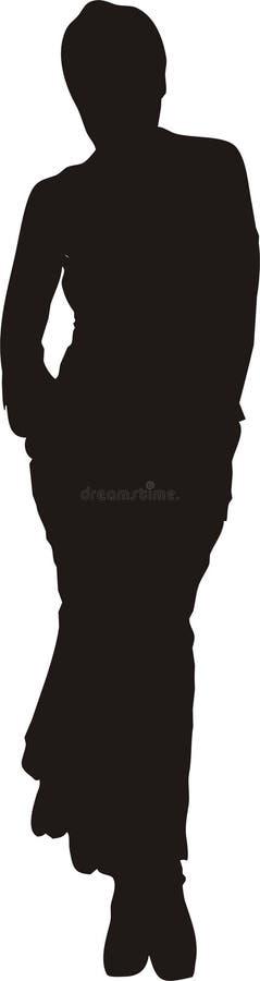 Mujer atractiva en silueta de la actitud ilustración del vector