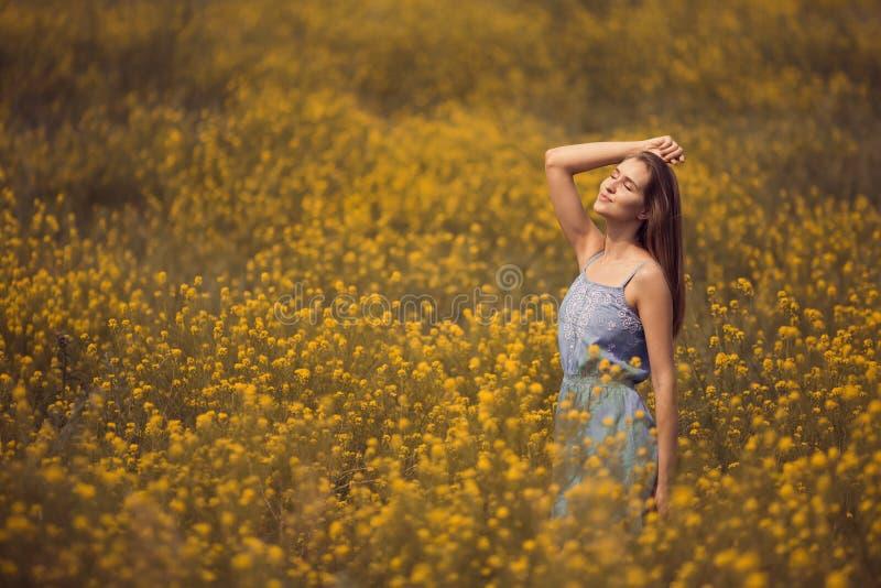 mujer atractiva en vestido en el campo de flor imagen de archivo libre de regalías