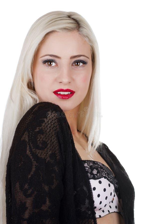 Mujer atractiva hermosa con el pelo rubio largo fotografía de archivo libre de regalías
