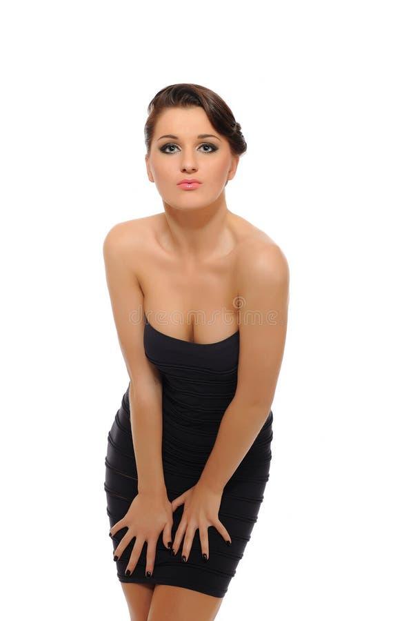 Mujer atractiva hermosa en alineada elegante corta imagen de archivo