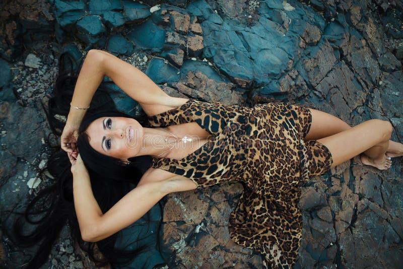 Mujer atractiva hermosa que presenta en vestido del estampado leopardo en fondo oscuro imagen de archivo libre de regalías