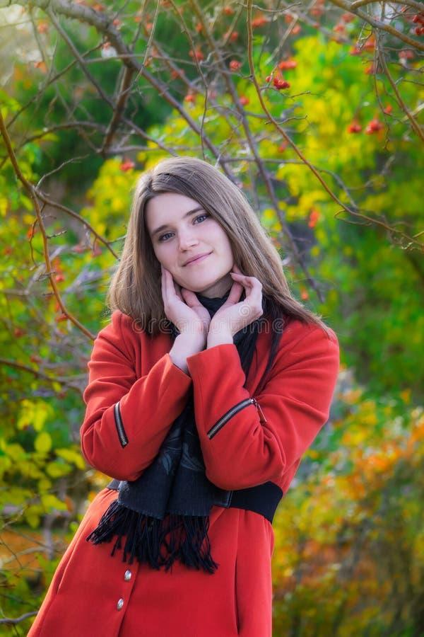 Mujer atractiva joven en día del otoño al aire libre foto de archivo libre de regalías