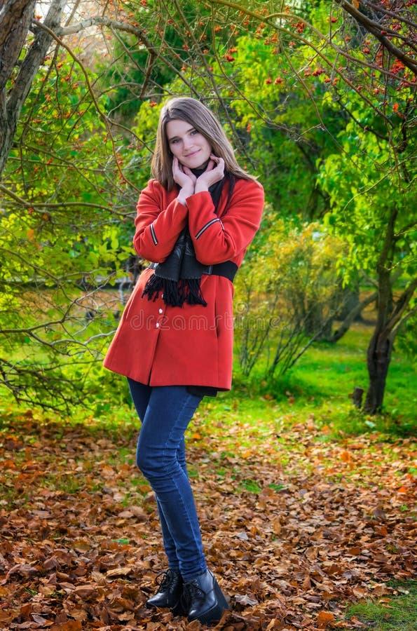 Mujer atractiva joven en día del otoño al aire libre imagen de archivo