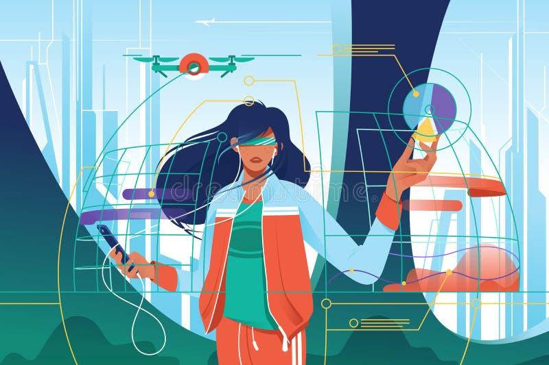 Mujer atractiva joven plana en mundo de alta tecnología ilustración del vector