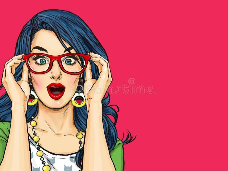 Mujer atractiva joven sorprendida con la boca abierta en vidrios Mujer cómica ilustración del vector