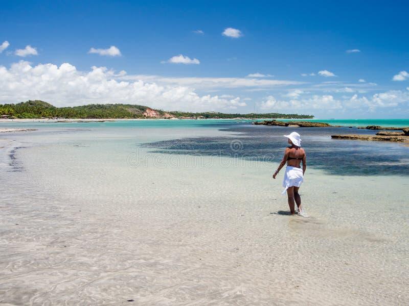 Mujer atractiva que camina a lo largo de la playa con la opinión sobre un día de verano fotografía de archivo libre de regalías
