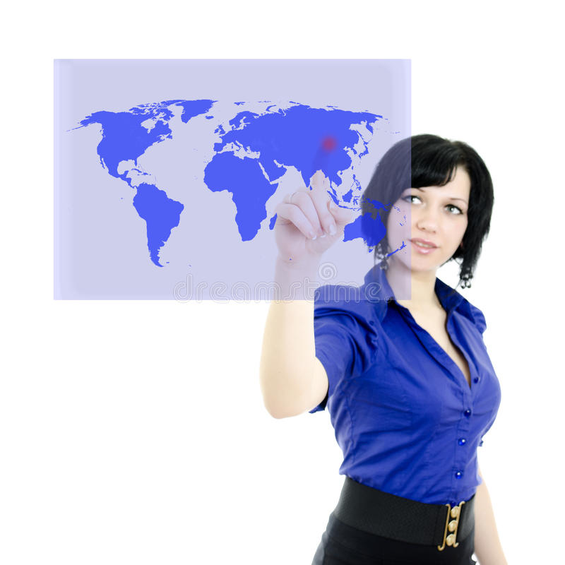 Mujer atractiva que empuja en una pantalla táctil fotos de archivo libres de regalías