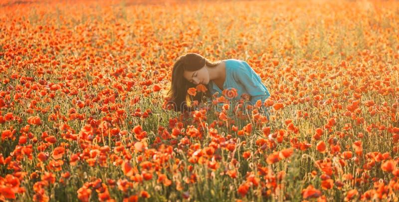 Mujer atractiva que huele una amapola en campo imagenes de archivo