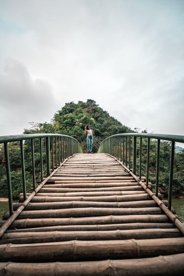 Mujer atractiva que presenta en las monta?as de Vietnam septentrional imágenes de archivo libres de regalías
