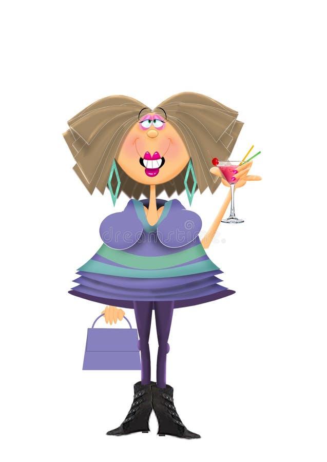 Mujer atractiva que sostiene el cóctel stock de ilustración