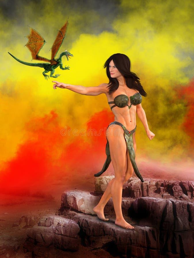 Mujer atractiva surrealista de la fantasía, dragón ilustración del vector
