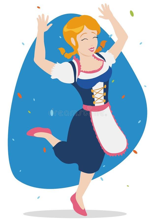 Mujer bávara feliz que celebra Oktoberfest, ejemplo del vector ilustración del vector