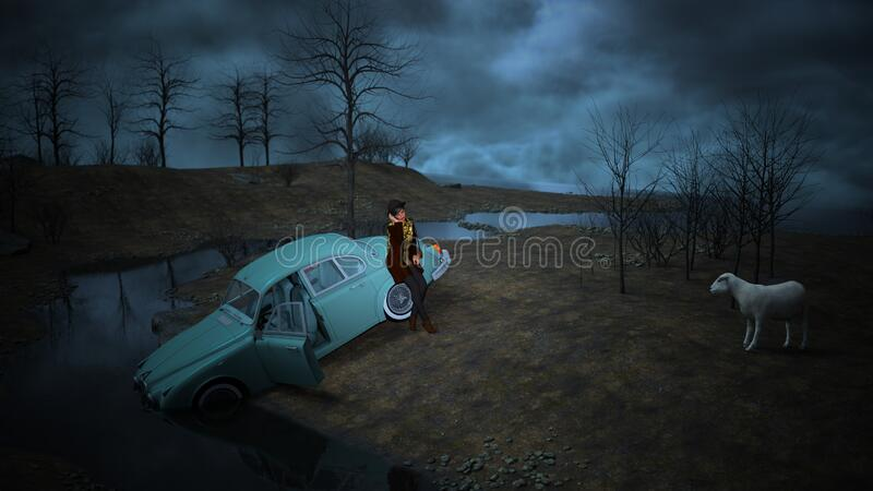Mujer bastante confundida está parada sola en la oscuridad con su auto hundido en el agua libre illustration