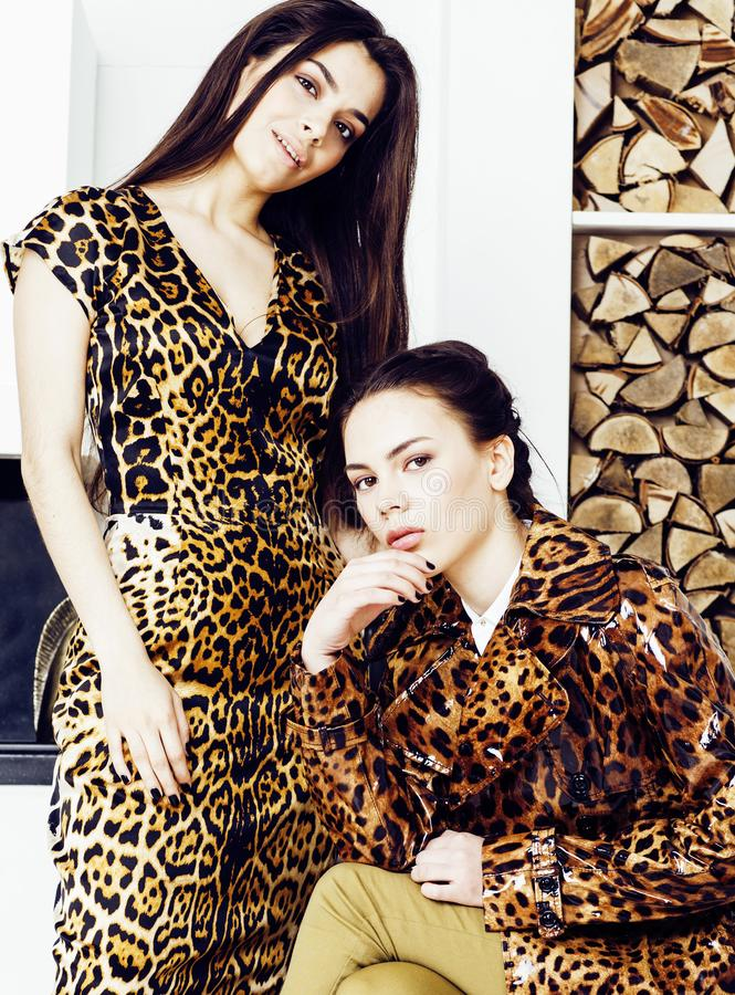 Mujer bastante elegante en vestido de la moda con el estampado leopardo junto en el interior rico de lujo del sitio, concepto de  foto de archivo libre de regalías