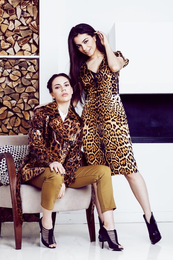 Mujer bastante elegante en vestido de la moda con el togethe del estampado leopardo imagen de archivo