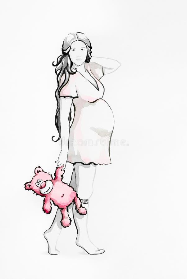 Mujer bastante embarazada con un oso de peluche rosado stock de ilustración