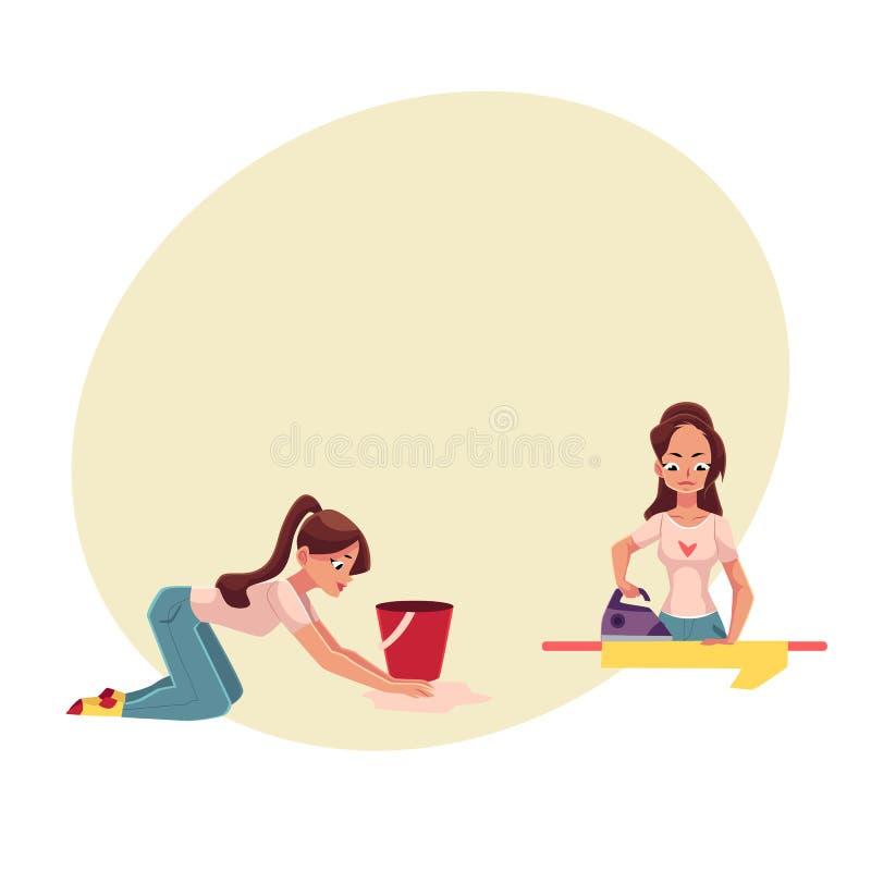 Mujer bastante joven, ama de casa que hace el quehacer doméstico - planchando, lavando el piso ilustración del vector