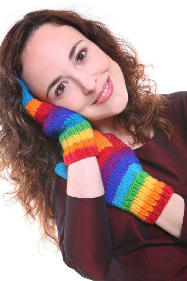Mujer bastante joven con los guantes foto de archivo libre de regalías