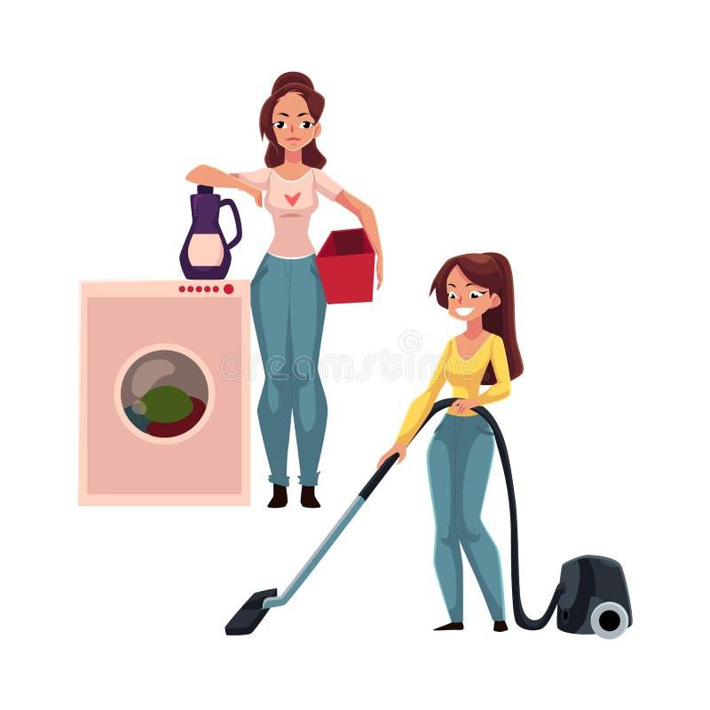 Mujer bastante joven, lavado del ama de casa y vacío limpiando su casa libre illustration