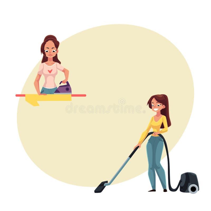 Mujer bastante joven, lavado del ama de casa y vacío limpiando su casa ilustración del vector