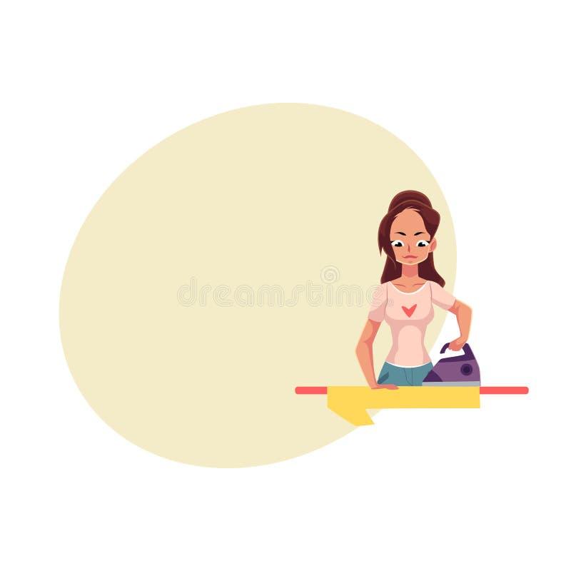 Mujer bastante joven, lino que plancha del ama de casa, camisa, ejemplo del vector de la historieta stock de ilustración