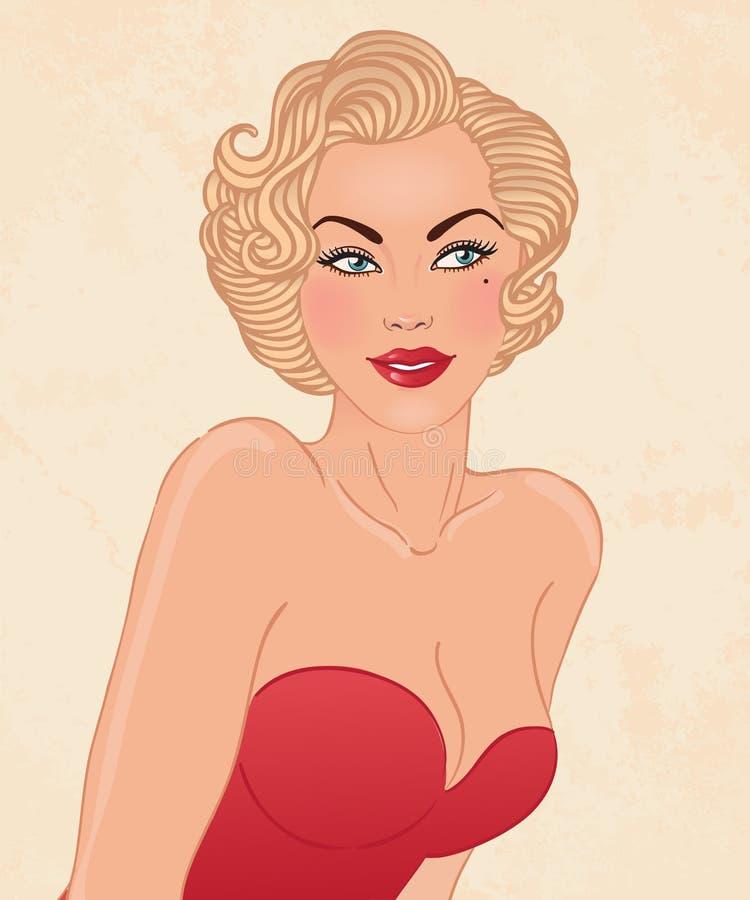 Mujer bastante rubia de los jóvenes en estilo de los años 50 stock de ilustración