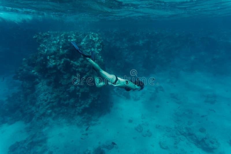 Mujer beaty subacuática en el bikini que bucea en un agua tropical clara en el arrecife de coral foto de archivo libre de regalías