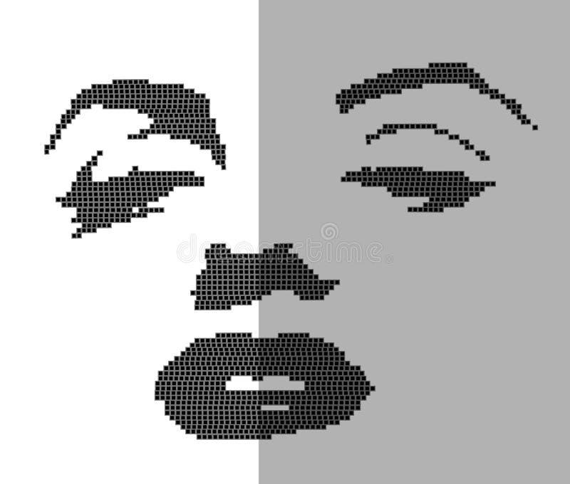 Mujer beuty del estilo de la puntada plana de la cruz en los puntos negros aislados en el fondo blanco Ilustración del vector ilustración del vector