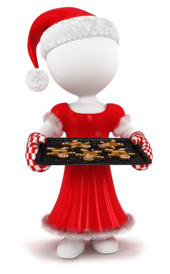 mujer blanca de la gente 3d con el pan de jengibre hecho en casa stock de ilustración