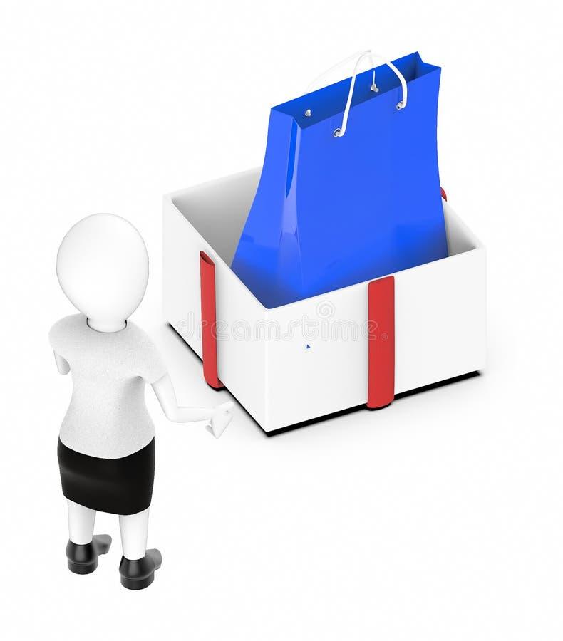 mujer blanca del carácter 3d que mira una caja de regalo desempaquetada grande ilustración del vector