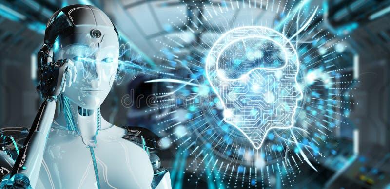 Mujer blanca del humanoid que usa el icono digital de la inteligencia artificial