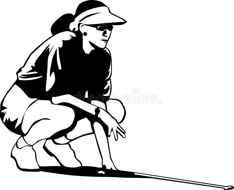 Mujer blanco y negro del golf stock de ilustración