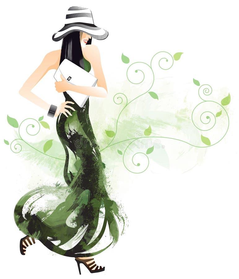 Mujer bonita stock de ilustración