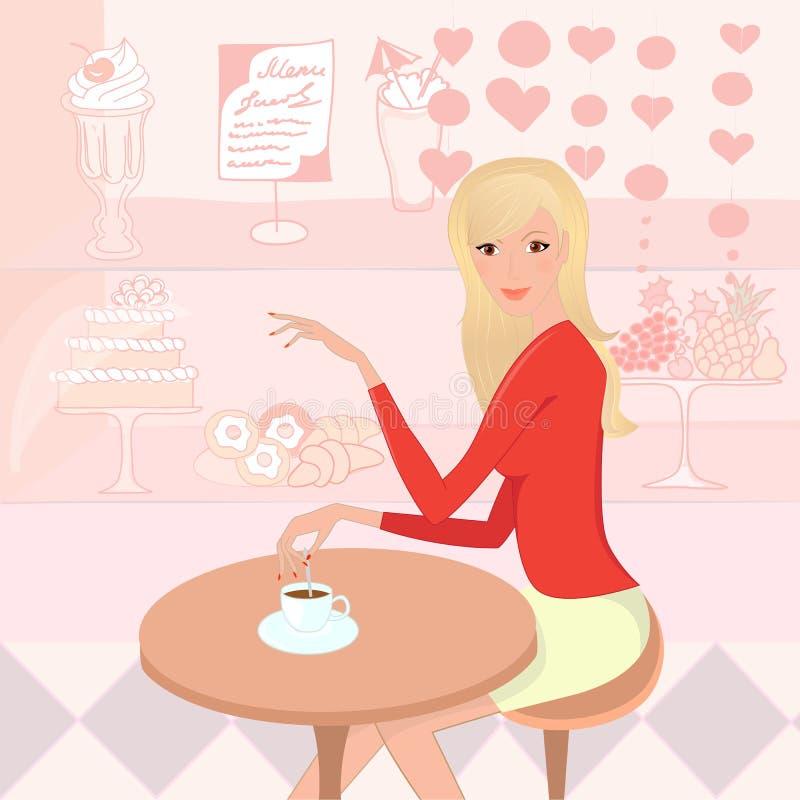 Mujer bonita con una taza de café en la pastel-tienda stock de ilustración