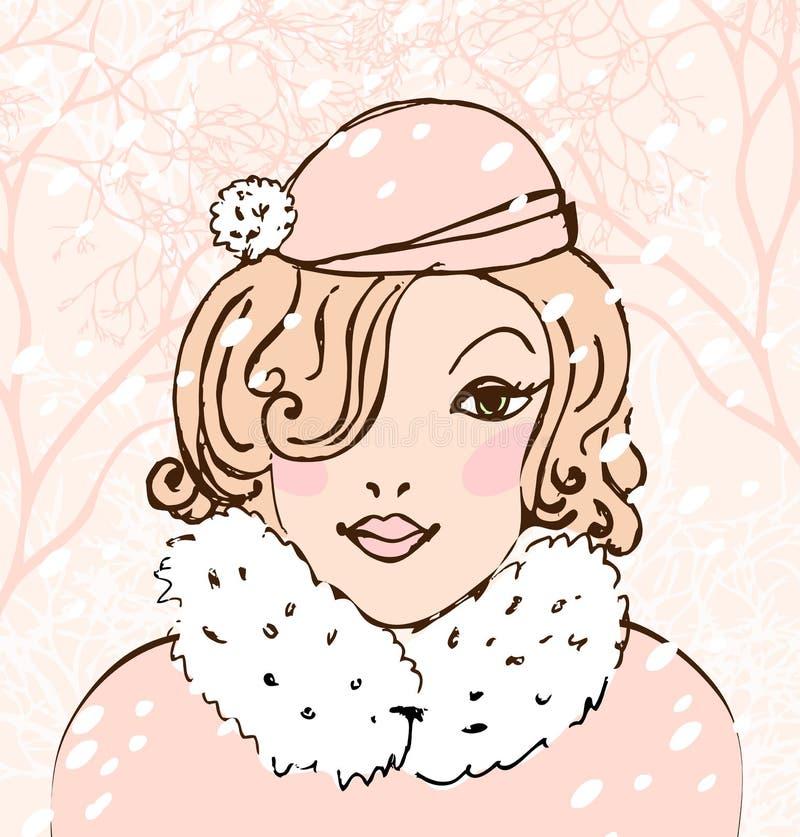 Mujer bonita del invierno ilustración del vector