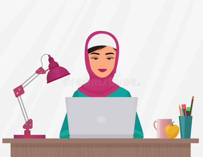 Mujer bonita del negocio musulmán en la ropa tradicional que trabaja en el ordenador portátil Ejemplo femenino árabe del vector stock de ilustración