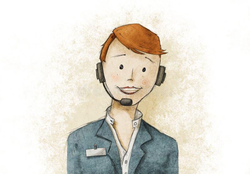 Mujer bonita del servicio del cliente empresa stock de ilustración