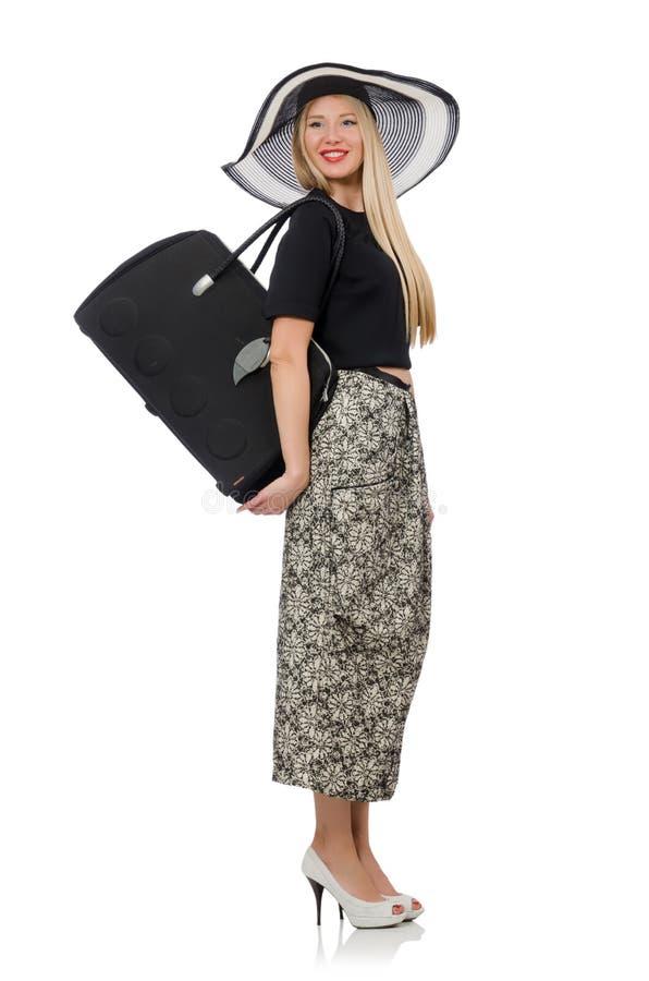 Mujer bonita en la falda larga aislada en el blanco fotos de archivo