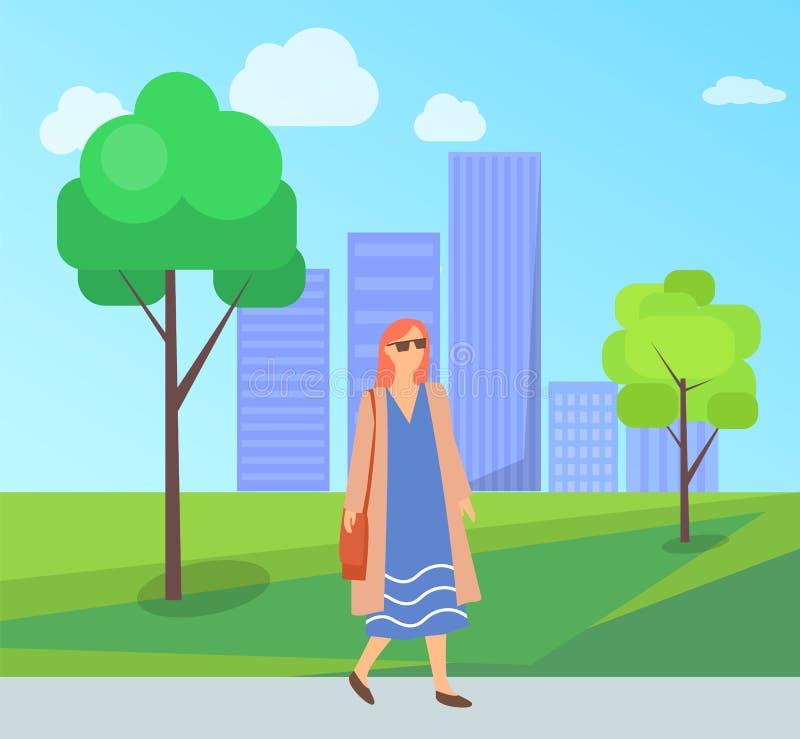 Mujer bonita en paseo en el parque, femenino en gafas de sol ilustración del vector