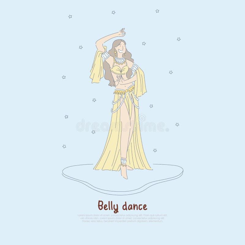Mujer bonita en vestido auténtico, bailarín hermoso que realiza la danza de vientre exótica, bandera oriental de la cultura libre illustration