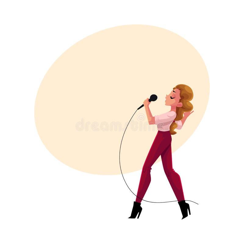 Mujer bonita joven que canta en el micrófono, partido del Karaoke, competencia, competencia ilustración del vector